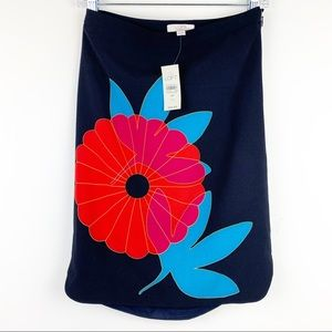Ann Tailor Loft Black Pencil Skirt Floral Size 0 P